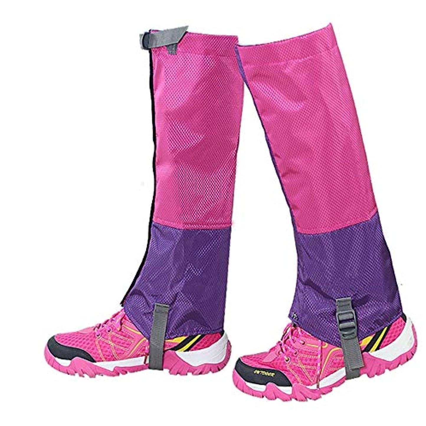 装置クール再び防水オーバーシューズ レインシューズカバー足のガーター防水ハイキングゲーター耐久性の高いレギンス通気性の高いレッグカバーラップ用男性女性子供用マウンテントレッキングスキーウォーキング登山狩猟 - 1ペアの靴カバー雨雪 (色 : Rose+purple, サイズ : Medium)