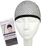 J&S ウィッグ 専用ネット ヘアーケア用品 伸縮性素材 装着感 良い かぶりやすい フルウィッグ用 ウィッグネット ブラック (2枚)