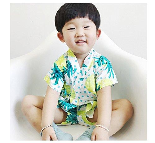 ディゾン(dizoon)春夏 浴衣 甚平 子供服 男女兼用 男の子 綿100% 七五三 5デザイン くだもの 80 90 100 110 120cm