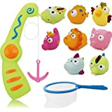 Haiyue Fishing Bath Toys, 10Pack Colorful Magnetic Floating Animals Water Toy with Bathtime Bathtub Swimming Toy for Kids Toddler Baby