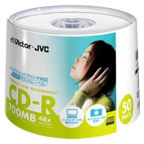 Victor データ用CD-R 700MB ホワイトプリンタブル 50枚 CD-R80SPF50