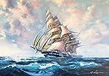 船の絵画 イタリア油絵 レナート 作 「帆船」 インテリア 風景 海