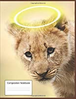 Composition Notebook: Wide Ruled Composition Notebook Gift For Grandchildren, Children, Seniors, Women, and Teen Lion Cub Lovers, Blank Lined Journal and Home school Workbook for Students(7.44 x 9.69 inches, 120 Pages)