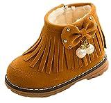 (コ-ランド)Co-land 子供靴 秋冬 ブーツ キッズ 靴 フリンジ リボン付き 裏ボア 雪靴 ベビー 女の子 ショートブーツ 防寒 シューズ イエロー 内寸15cm