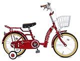 【片足スタンド付】 ジェニファー (JENNIFER) レッド 18インチ 補助輪付き シングルギア ワイヤーカゴ付き パイプキャリア ※組立式 幼児用自転車 ステップアップセット