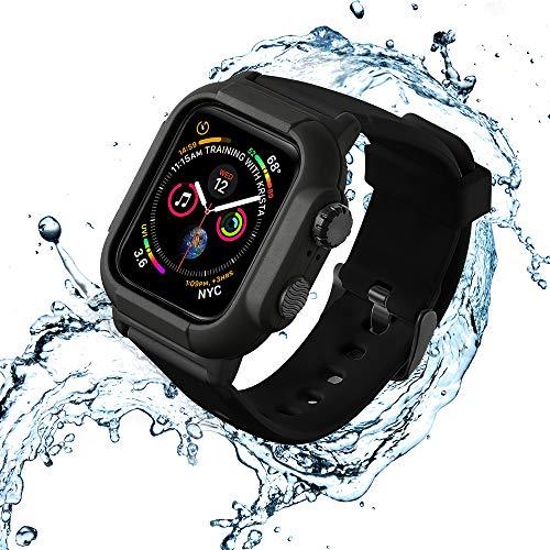 「水泳専用」Kartice Compatible with Apple Watch Series 4 44mm専用の完全防水ケース+バンド 30メートルで潜水が可能 完全保護 衝撃から保護 人気軍用級防水ケース&バンドセット 四色あり(ブラック)