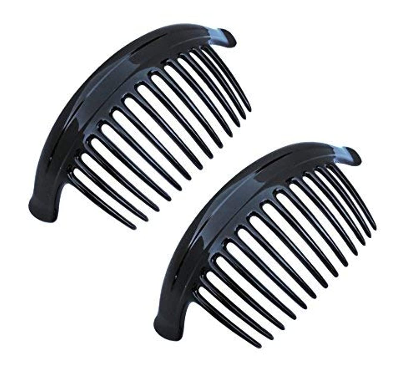変数比率要塞Parcelona French Arch Extra Large Black 13 Teeth Interlocking Side Hair Combs Pair [並行輸入品]