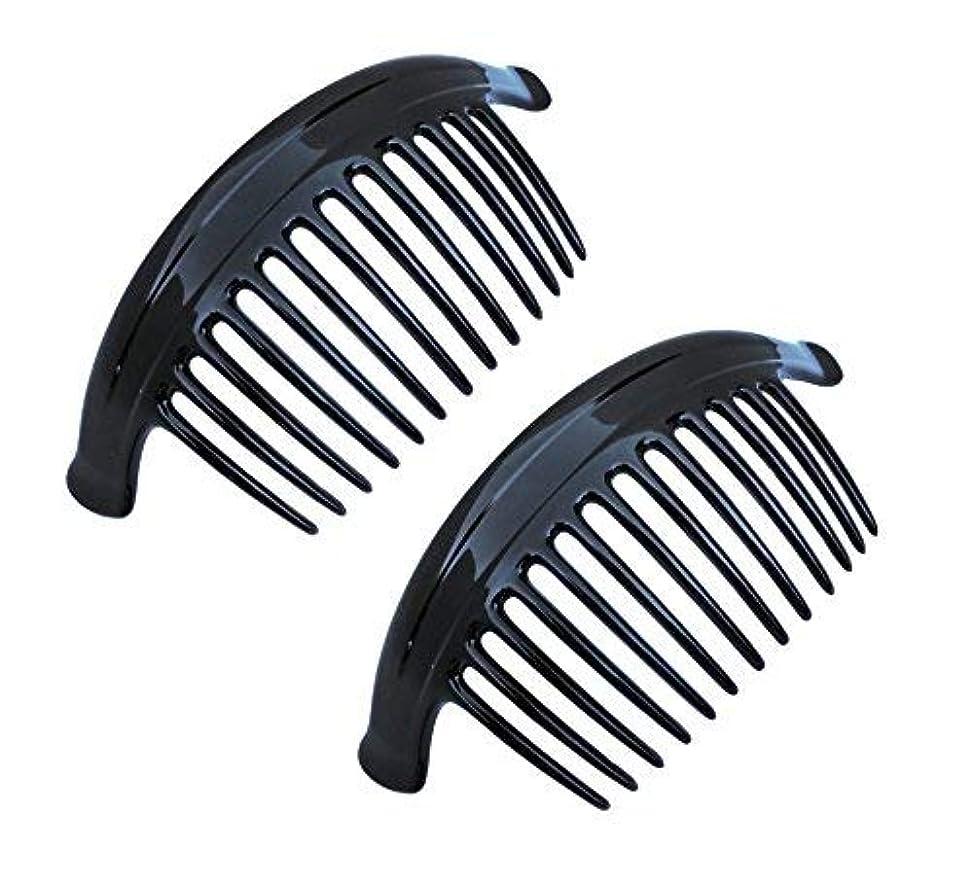 フォルダ前奏曲配るParcelona French Arch Extra Large Black 13 Teeth Interlocking Side Hair Combs Pair [並行輸入品]