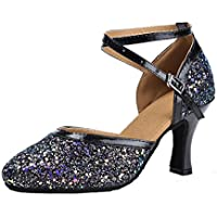Honeystore Women's Latin Dance Sequin Ankle Strap Mary Jane Pump