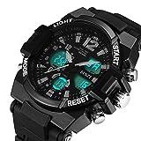 [ビンズ] BINZI スポーツ腕時計、軽量 防衝撃 デジタル表示 アナログ表示 アウトドア 日常生活防水 LEDライトつき ブラックうでどけい BZ-1607b メンズ
