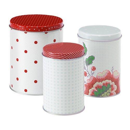 IKEA(イケア) INBJUDANDE 缶 ふた付き 3個セット, 水玉模様, フラワー 格子柄 (30303388)