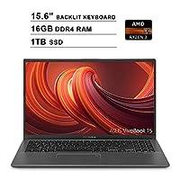 2019 ASUS VivoBook 15 15.6 Inch FHD 1080P Laptop (AMD Ryzen 3 3200U up to 3.5GHz, 16GB DDR4 RAM, 1TB SSD, AMD Radeon Vega 3, Backlit Keyboard, FP Reader, WiFi, Bluetooth, HDMI, Windows 10) (Grey)