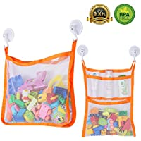 Bath Toy Organiser, SUNDOKI Toy Holder Storage Bags with 4 Suction Cup Hooks and 2 Bath Toy Nets for Kids, Toddlers and Adults (Orange)
