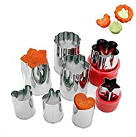 Astra Shop Vegetable Cutter Shapes Set ( 8 Piece) - Mini Cookie Cutters, Super Cute Vegetable Presses Stamps for Kids Food Making- Kitchen DIY tools Set (Flower & Cartoon) Shape by Astra shop