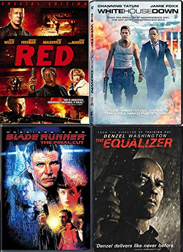 Capitol Policeman SS White House Down + Denzel Washington McCall Equilizer + Red Bruce Willis & Blade Runner Harrison Ford DVD Special movie 4 Pack Action Sci-Fi Rockin' Packed Set