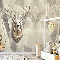 Jason Ming カスタム3D壁画ステレオ幾何学的三角形エルクラインテレビの背景の壁紙モダンミニマリストのリビングルーム-120X100Cm