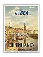 コペンハーゲン、デンマーク - イギリス・ヨーロッパ航空(BEA) - ビンテージな航空会社のポスター によって作成された イエルゲン・ブレンデキルド c.1955 - アートポスター - 23cm x 31cm