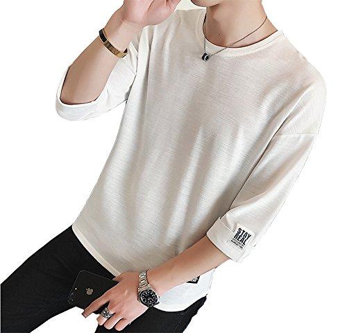 夏服 メンズ Tシャツ メンズ 半袖 カットソー 七分袖 五分袖 高品質 おしゃれ 快適な 無地 軽い 柔らかい カジュアルな服装 白 L