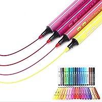 水彩ペン 児童 24本 学生 絵画ペン カラーペン 水性ペン テーパーペン先 収納ケース付き Kootk