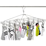 Anti-Wind Stainless Steel Drying Hanger Rack 20/8 Pegs Clip Laundry Clothesline Dryer for Socks Underwear Towel Scarves Short (Folded)