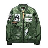 メンズ ジャケット ブルゾン ミリタリー ジャンパー ロック フライジャケット MA-1 黒 緑 M L XL (【グリーン XL】)