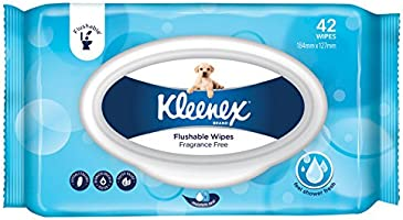 KLEENEX Flushable Fresh Wipes Fragrance Free, 0.3kg, Pack of 42 Wipes