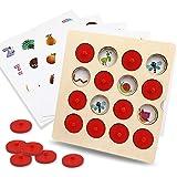 FlyCreat モンテッソーリ 知育玩具 木製パズル メモリーチェスおもちゃ メモリーマッチングゲーム 子供用 メモリチェス 積み木 インタラクティブチェス 立体パズル キッズメモリートレーニング 子ども 男の子 女の子 オモチャ チェスおもちゃ メモリマッチンおもちゃ 感覚教具 色の認識 立体感覚 記憶力アップ 幼児 早期学習 型はめ 円柱さし 木のおもちゃ ゲーム 子供 玩具 右脳トレーニング 集中 開発 幼児教育 知的発達 保育園 幼稚園 誕生日 クリスマスプレゼント 8枚カード付き