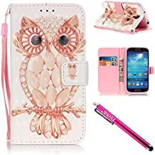 Galaxy S4 Case, Galaxy S4 Wallet Case, Firefish Kickstand Card Slots Cash Holder Dual Layer Impact Resistant Case Cover with Wrist Strap Magnetic Snap Closure for Samsung Galaxy S4 i9500-Owl