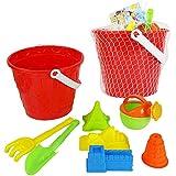 YanGbeau 8ピースセット大きなビーチバケツ子供プレイ水ビーチおもちゃ砂シャベルプラスチックおもちゃ (Color : Random)
