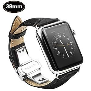 Xboun Apple Watch バンド ベルト38mm / 本革 レザー ステンレス プッシュ式 D バックル 簡単交換 ビジネス用 手作り Apple Watch Nike+, Apple Watch Series 1、 Series 2,Series 3 (38mm, 黒い)