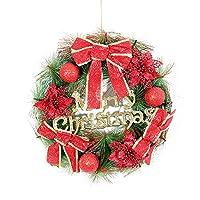 クリスマスリース クリスマスリースの装飾ドアウォールデコレーションガーランドホテルレストランシミュレーションクリスマスリース 豪華なクリスマスリース (Color : Red, Size : 40cm)