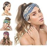 OSATTIA 4 Pack Women Boho Headband Floral Style Knot Bohemian Hairwrap Flower Printing Twisted Criss Cross Stretchy Hairband