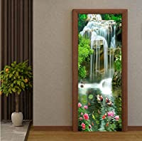 Mingld 中国風の3D滝蓮のPhotoの写真の壁のドアステッカー壁画壁紙リビングルームの寝室の研究防水壁画-120X100Cm