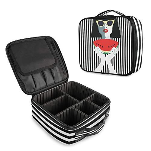(VAWA) メイクボックス 大容量 プロ用 かわいい ストライプ柄 レディース スイカ柄 化粧箱 機能的 コスメ収納 ブラシバッグ 調整可能 旅行出張用