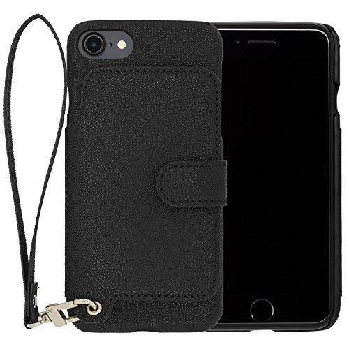 RAKUNI Light PU Leather Case Book Type with Strap for iPhone 7 (ブラック) PUレザー スタンド機能 カードケース カバー ストラップホール付き RCB-7-BK