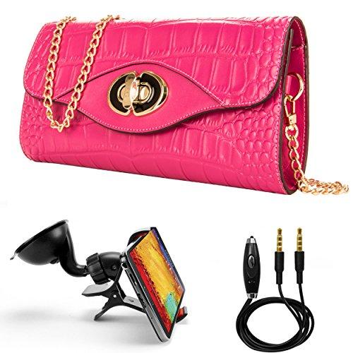 財布型ケースfor Oppo f3 Plus / f1s / a57スマートフォン、Cassieクロコダイル本革ショルダークラッチWゴールドチェーン& Turn Lock +補助ケーブル+フロントガラスカーマウント ピンク