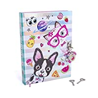 """ホットフォーカスBest Pals Secret Diary–7""""フレンチブルドッグ& Kittenテーマジャーナルノートブックwith 300両面Linedページ、南京錠、2つのキー子供用"""