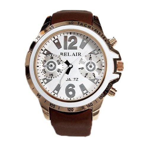 BVLGARI(ブルガリ)風 ビッグフェイス 腕時計 時計 男女兼用 ブラック 黒 シルバー クロノグラフ 丸時計 メンズ レディース 全2カラー WHITE&BROWN