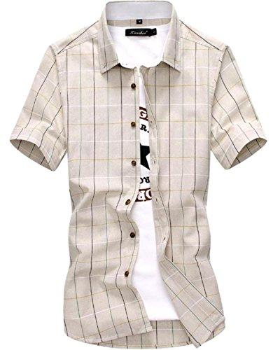 (リザウンド)ReSOUND メンズ ブロック チェック 半袖 シャツ ベージュ XXXXL はん袖 半袖 ハンソデ ポロシャツ クルーネック uネック Uネック 丸首 vネック かっこいい vネック 人気 Vネック ヘンリーネック ベージュ 4XL 437