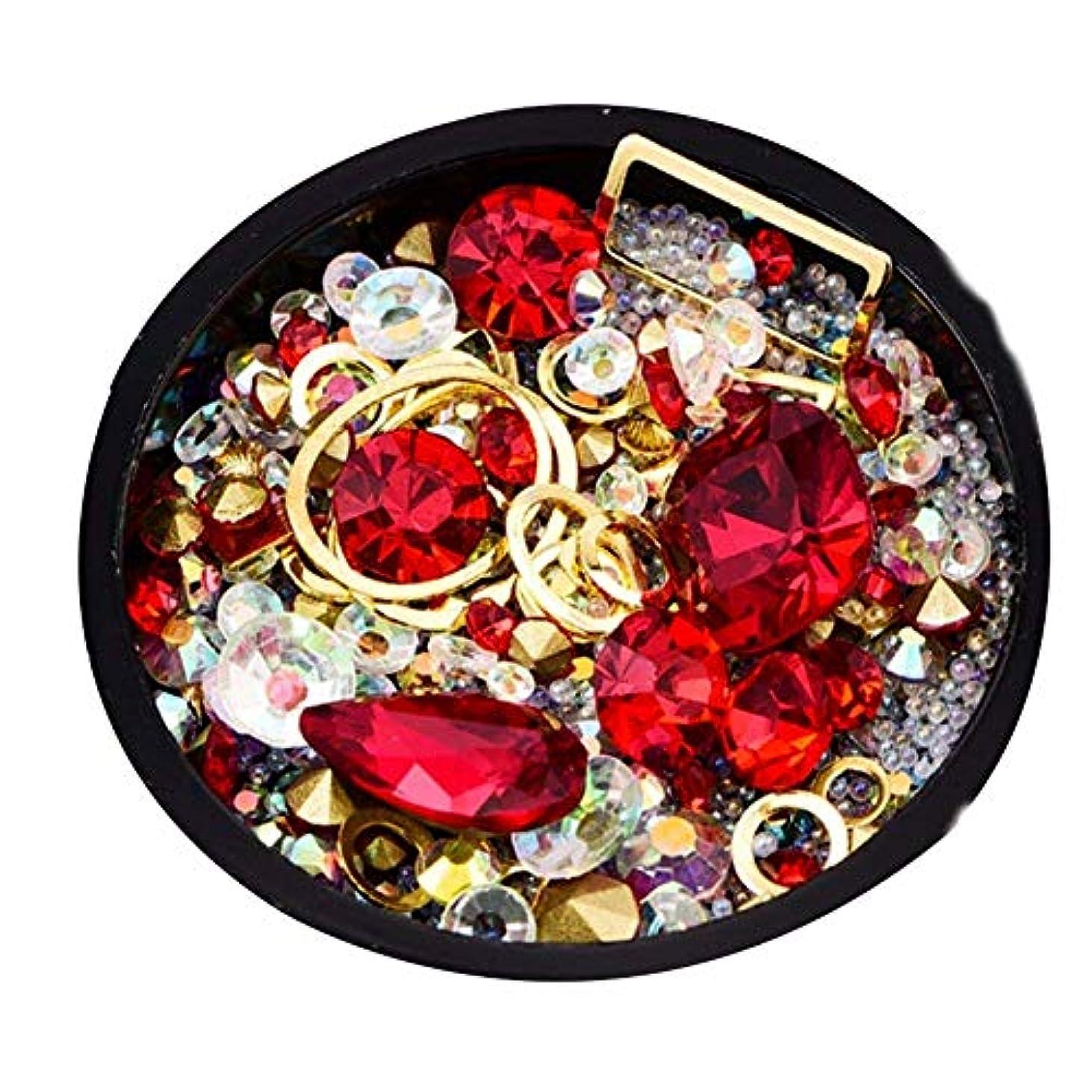 スケッチ読み書きのできない算術ネイル宝石ダイヤモンドネイルアートの装飾輝くクリスタルビーズネイルネイルジュエリーの結晶宝石ダイヤモンドの魅力ステッカー(赤)