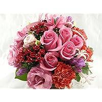 5本のバラと季節のお花のリボンアレンジメント