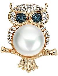 Ruikey ファッション フクロウのブローチ パール ブローチ ピンブローチ バッジ 可愛い おしゃれ アクセサリー プレゼント 贈り物 メンズ レディース 子供 ジュエリー 合金