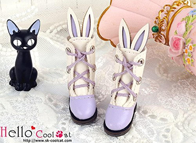 ドール用 coolcat かわいいうさ耳付ブーツ バイオレット24-7