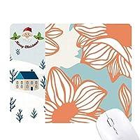 オレンジ色の青い花の植物塗料 サンタクロース家屋ゴムのマウスパッド