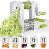 Spiralizer 5-Blade Vegetable Spiralizer,Sedhoom Foldable Spiral Slicer,Zucchini Noodle & Veggie Pasta & Spaghetti Maker for Low Carb/Paleo/Gluten-Free Meals