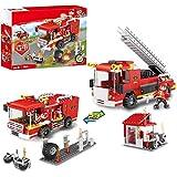 COGO シティ特急消防車 ブロック セット おもちゃ 消防署 消防シリーズ 2in1 はしご車 水ポンプ付き消防車 バイク 消防士 クリスマス 誕生日プレゼント 男の子向き 6歳以上 184pcs