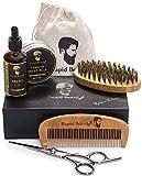 [(ラピッドビアード) Rapid Beard] [Beard Grooming & Trimming Kit for Men Care - Beard Brush, Beard Comb, Beard Oil Leave-in Conditioner, Mustache & Beard Balm Butter Wax, Barber Scissors for Styling] (並行輸入品)