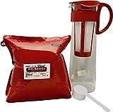 水出しアイスコーヒーセット 水出し珈琲専用豆500g(粉)とハリオ水出し珈琲ポット(赤)