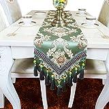 EGROON 上品 豪華 古典 テーブルランナー テーブルクロス 食卓カバー テーブルカバー テーブルマット グリーン
