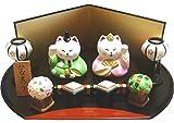 【 ねこのひな祭りセット 】 かわいい猫の雛人形です  【陶器製_手描き】